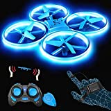 SNAPTAIN SP300 Drohne mit Blaue LED, RC Quadrocopter mit 3 Fernbedienungen, 2 Akkus für 14 Minuten, Throw'N Go, Automatische Ausweichfunktion, Spielzeug Drohne für Anfänger und Kinder.