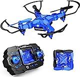 DROCON Scouter Faltbare Mini-RC-Drohne für Kinder-Quadrocopte mit Höhenhalt, 3D-Flips und Headless-Modus, für Anfänger, Blau (Update)