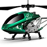 SYMA Hubschrauber ferngesteuert Helikopter Fernbedienung RC Helicopter Indoor Outdoor Flugzeug Geschenk Kinder S107H-E 3.5 Kanal 2.4 Ghz LED Leucht Gyro Höhe halten Rot (Grun)
