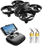 Potensic Mini Drohne mit Kamera Dual Akkus RC Quadrocopter Drohne 2.4Ghz FPV Live Übertragung Ferngesteuerte Drohne Spielzeug Drohne für Einsteiger Auswechselbarer Akku Höhe Halten Schwerkraft- A20W