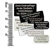 MJ Onlinehandel Drohnen-Kennzeichnung mit 3-5 Zeilen Schrift, Plakette Alu eloxiert - Kennzeichen Kennzeichen Vier Größen, selbstklebend